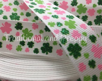 "3 yards 7/8"" Glitter Shamrock Shamrocks pink green grosgrain st Patrick's Day Irish"