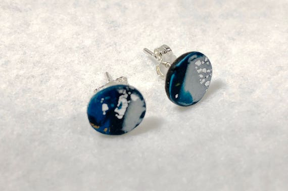 Handcrafted polymer earrings, unique polymer blue studs, art studs, silver earrings, unique handcrafted earrings, contemporary polymer studs