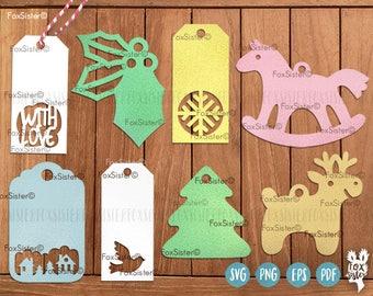 Gift Tags SVG Cut File Bundle | Digital svg tags | Labels svg | Christmas Svg | Deer svg | Horse svg | vinyl decal Winter | for Cricut Cameo