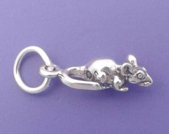 MOUSE Charm .925 Sterling Silver Rat MINIATURE Small - elp508