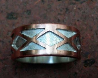 Harlequin Silver and Copper Ring