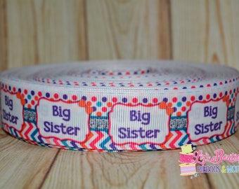 Big Sister ribbon / 5yds / 7/8 / sister ribbon / chevron pink ribbon/ colorful sister ribbon, sibling ribbon, polka dot chevron ribbon