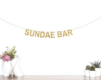 Sundae Bar Banner, Ice Cream Bar Banner, Ice Cream Party, Party Decorations, Bar Sign,Tropical Party Banner, Sundae Bar, Ice Cream Party