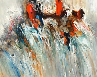 Abstraction Orange Blue M 1. Large abstracted original, contemporary artwork. vibrant painting, blue, orange, beige  and brown