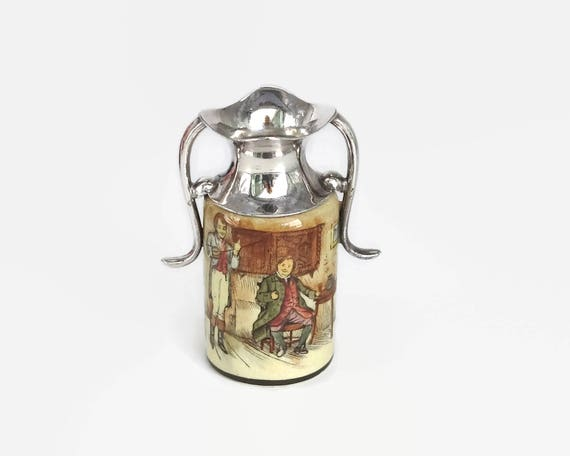 Small antique jug, Royal Doulton, Captain Grose, silver plated top and handles, glass over earthenware, hand painted, England, 1910
