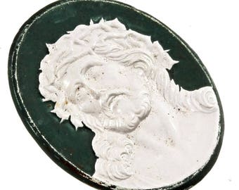 36mm Czech vintage green colored figural Jesus cameo crystal glass cabochon C164-32