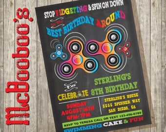 Fidget Spinner Birthday Party Invitation on a chalkboard background