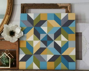 Handpainted quilt block decor - large