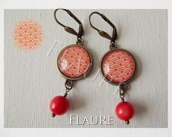 "Earrings with cabochons ""scales japon"""
