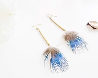 """Peacock Pom"" earrings brass & Peacock feather"