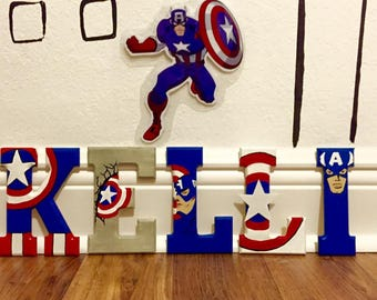 Captain America Wooden Letters - Captain America, Avengers, Ironman, Wood Letters, Thor