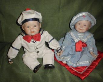 Baby Dolls Boy and Girl by Ashton Drake signed by Yolanda Bello