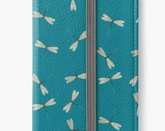 Folio Wallet Case for iPhone 8 Plus, iPhone 8, iPhone 7, iPhone 6 Plus, iPhone SE, iPhone 6, iPhone 5s - Turquoise Dragonflies Case