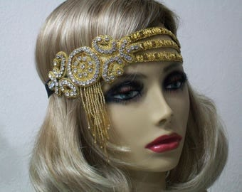Gold 1920s headband, Gatsby headpiece, 1920's headpiece, Flapper headband, Forehead headband, Roaring 20s dress,  1920s hair accessory