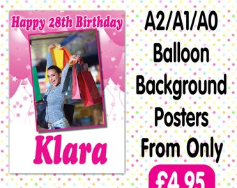 Personalised Photo Birthday Christening baptism Party Gloss Posters Any Age, Any Name, Any Event A008