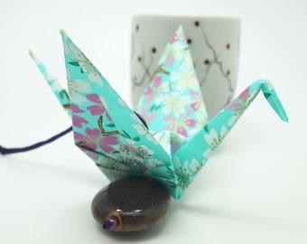 Porte-bonheur grue origami en papier japonais vert menthe - oiseau messager, origami crane, idée cadeau table, voeux, cadeau naissance