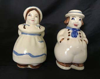 Shawnee Dutch Girl and Boy Salt and Pepper Shakers Range Size Large
