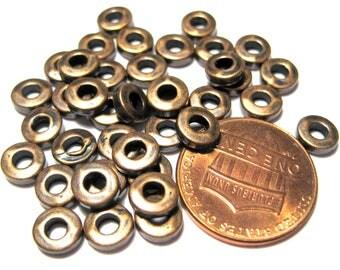 50pcs Antique Copper Big Hole Spacer Beads 6mm Tibetan Style Bead