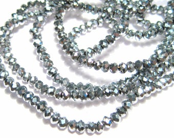 1 Strand Electroplate Silver Faceted Rondelle Glass Beads 2mm