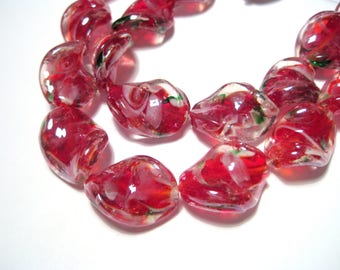 5pcs Red Handmade Inner Flower Twist Lamp work Glass Beads