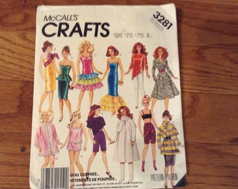 Vintage McCall's  pattern 3281 Barbie Clothes   uncut