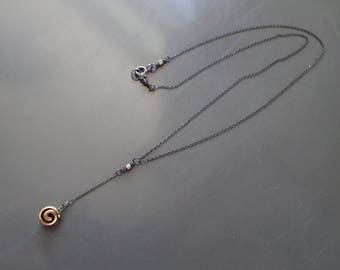 Bronze Spiral Mixed MetalNecklace, Sterling Silver Delicate Choker, Drop, Charm,Oxidized,Tiny, Boho,Bohemian,Two Tone,Everyday,Lariat,Y,Bolo