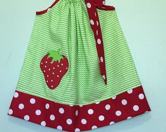 Custom Made Pillowcase Dress- Lime Chevron with Strawberry Applique and Red Polka Dot Hem and ribbon- NB- 8y/o