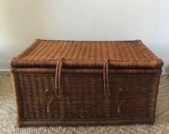 Vintage Rattan Wicker Storage Trunk