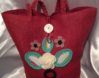 Chic large basket bag of acrylic with unique and pretty crochet decor