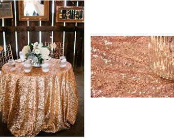 rose gold sequin wedding tablecloth 72 inch round polyester sequin cloth shiny sequin quality tablecloth