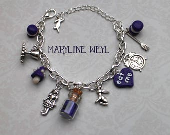 """alice in Wonderland country"" charm bracelet purple"