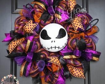 Jack Skellington Wreath, Halloween Deco Mesh Wreath, Skeleton Wreath, Premium Metallic Deco Mesh Wreath, Halloween Door Decor