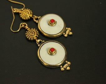Tibetan Earrings - Handmade Earrings - White Resin - Gold Toned - Ethnic - Spiritual - Coral Center - Tribal - Gypsy Style - Gift Ideas