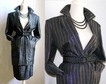 SLeeK 1980s JEAN LOUIS SCHERRER Paris Boutique Black & Metallic Silver Evening midi dress skirt Suit with belt / Made in France
