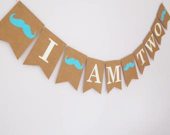 I am two birthday bunting moustache party decoration