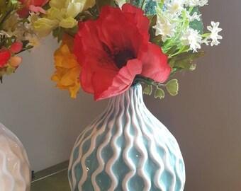 Silk Flower Arrangement, Fake Flower Arrangement, Red Poppy, Multicolor Floral Arrangement, Aqua Vase, Cream Vase, Tabletop Flowers, Zigzag