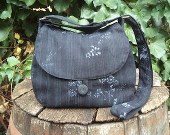 Black Floral Jeans,buttoned bag,shoulder bag