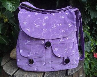 Lilac floral corduroy messenger bag,buttoned big bag