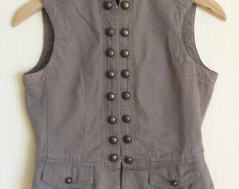 Vintage Women's Khaki Denim Army Style Fitted Vest small Size