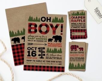 Buffalo Plaid Baby Shower Invitation - Rustic Boy Baby Shower Invitation - Lumberjack Baby Shower Invitation - Red Plaid - Printable Files