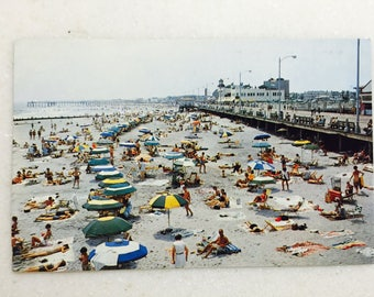 Vintage Ocean City New Jersey Postcard Beach and Boardwalk 1960