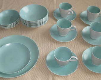 SALE --  26 Pcs. POOLE POTTERY Dishes, Sea green (aqua) and Dove Grey. Cups, Saucers, Bowls, Plates