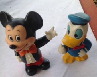 Vintage Disney Mickey Mouse Donald Duck Plastic Piggy Banks