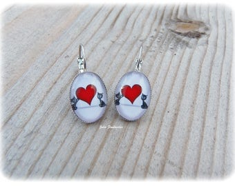 "Earrings ""2 Cats in love"" - Oval Cabochon 15 x 20 mm"