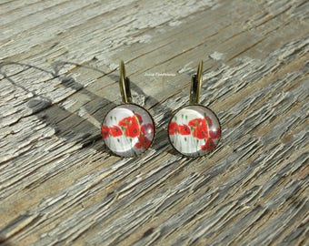 "Earrings ""Poppies field"" - small round glass cabochon"