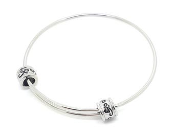 Expandable Bangle Silver Filigree Bead Gift Box Included elegant timeless bangle