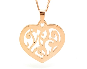 Coorabell Crafts Rose Gold Filigree Love Heart Pendant with Rose Gold necklace and gift box.