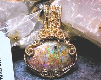 Louisiana Opal (Extremely Rare) Pendant - Handmade Wire-wrapped - Amazing Fire!!! (lo138)