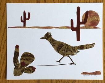 Roadrunner at Dusk, southwest decor, cut paper art, roadrunner print