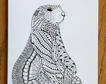 Prairie Dog Card, Southwest Art, whimsical, pen and ink